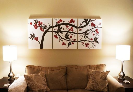 Custom Made Brown And Red Cherry Blossom Triptych Painting On Canvas