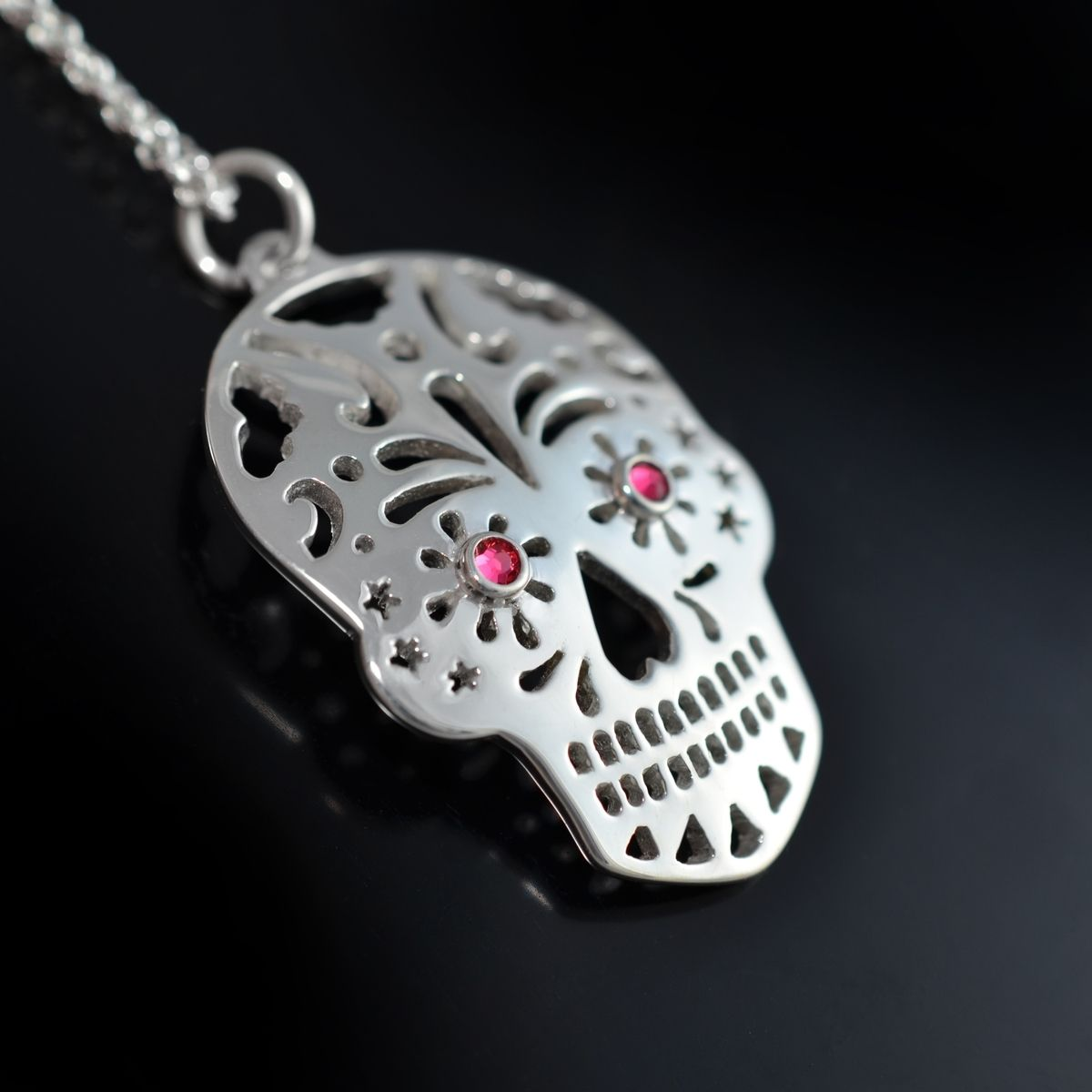 silver bronze necklace pendant sugarskullsilver sugar frieda skull itm statement quirky mexican kahlo