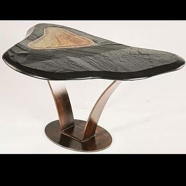 Custom Made Hand Carved Slate Table With Stone And Copper Inlay