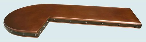 Custom Made Copper Countertop With Dark Brass Strap & Clavos