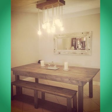 Custom Made Rustic Dining Table W 2 Benches // Indoor Outdoor // Rustic Furniture // Rustic Decor