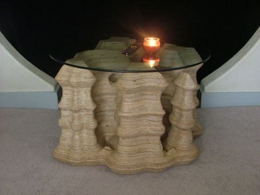 Custom Made 4 Pillars White Canyon Occasional Table