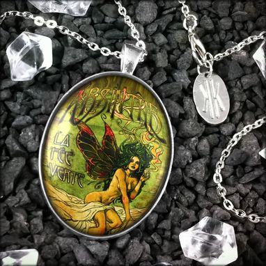Custom Made Large Absinthe Fairy Sterling Silver Pendant Necklace 273-Slopn