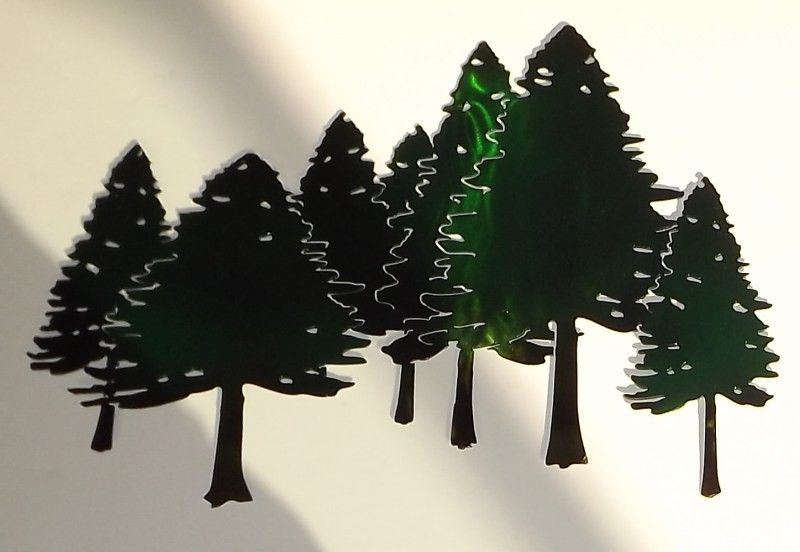 Hand Crafted Pine Tree Forest Free Form Metal Wall Art