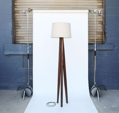 Custom Made Walnut Tripod Floor Lamp