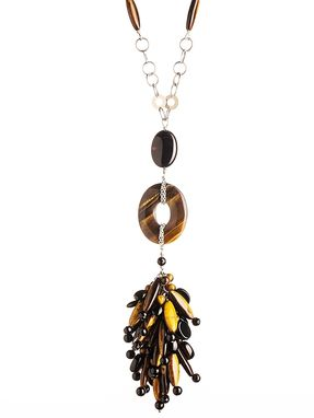 Custom Made Custom Tiger Eye And Black Onyx Celebrity Cluster Necklace