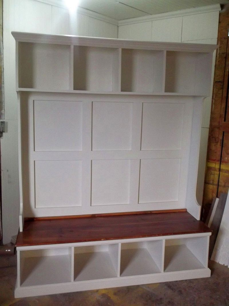 Custom Made Contemporary Hall Tree Bench With Cubbies And Crown Moulding