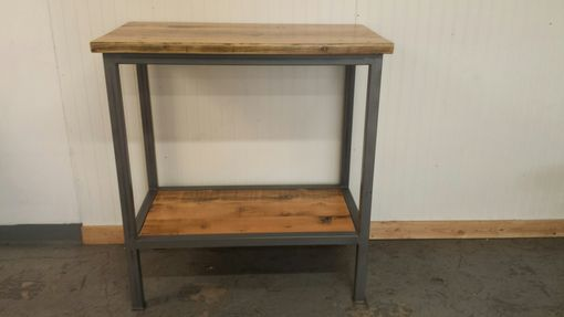 Custom Made Handcrafted Bar Height Sofa Console Table With Shelf Below, Reclaimed Wood Top
