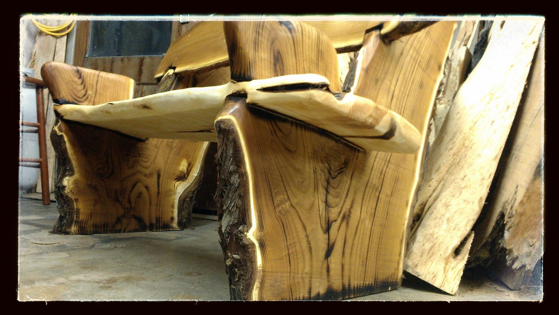 Hand Made Live Edge Rustic Bench Crotch Wood Slabs By
