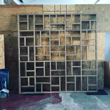 Handmade Solid Wood Geometric Room Screen Room Divider by Bugbee