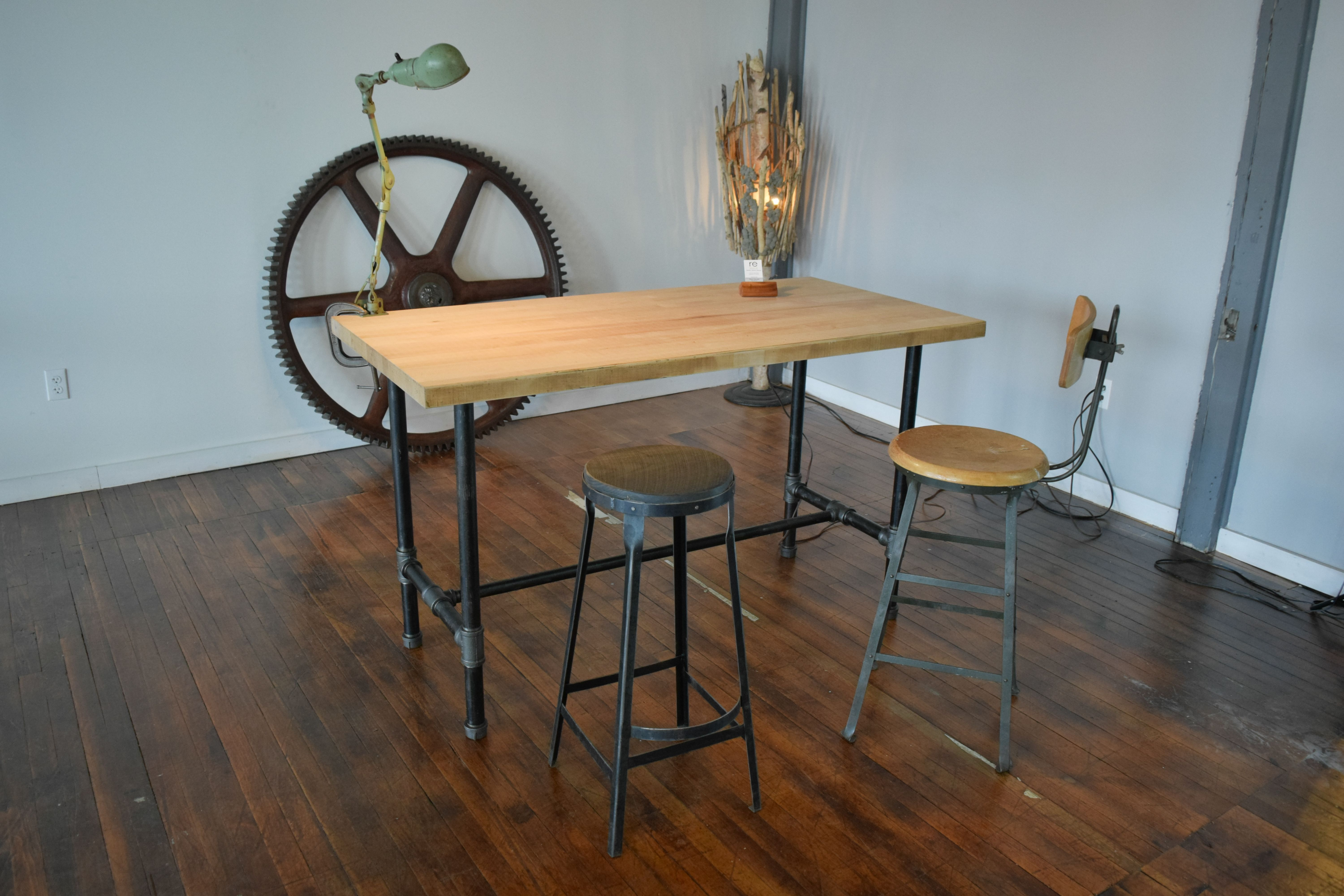 Custom Made Reclaimed Maple Standing Desk With Pipe Table