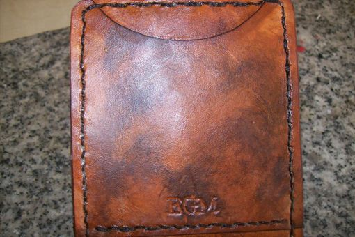 Custom Made Custom Leather Deluxe Wallet With Attached Business Card Case And Marlin Design