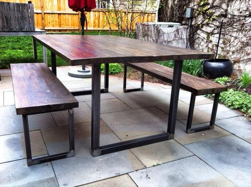Custom Made Reclaimed Outdoor Dining Table Set