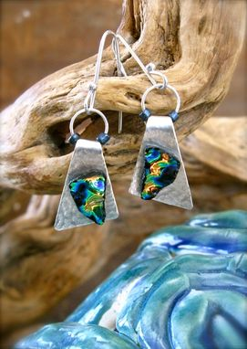 Custom Made Sterling Silver Earrings With Art Glass