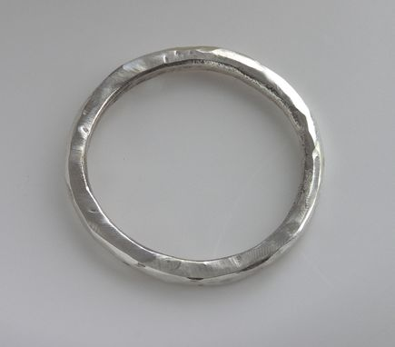 Custom Made Argentium Silver, Large Thin Round Band, Handmade, Textured, Approx Size Us 13