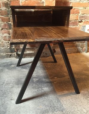 Custom Made End Table, Wood And Steel End Table, Pyramid Leg End Table, Bedside Table
