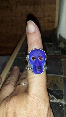 Custom Made Blue Glass Skull Ring