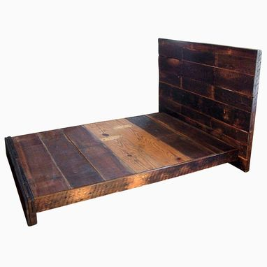 Custom Made Asian Style Low Platform Bed From Reclaimed Wood
