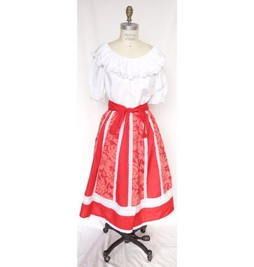 Custom Made Paneled Hula Or Square Dance Skirt With Hawaiian Floral Print Design And Belt - Red