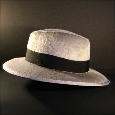 Custom Made Silver Gray Black Fedora, Stephen Fry's Hat (Custom Made)