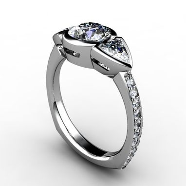 Custom Made Three Stone Round Center Diamond With Trillion Cut Diamonds And Diamond Side Accents