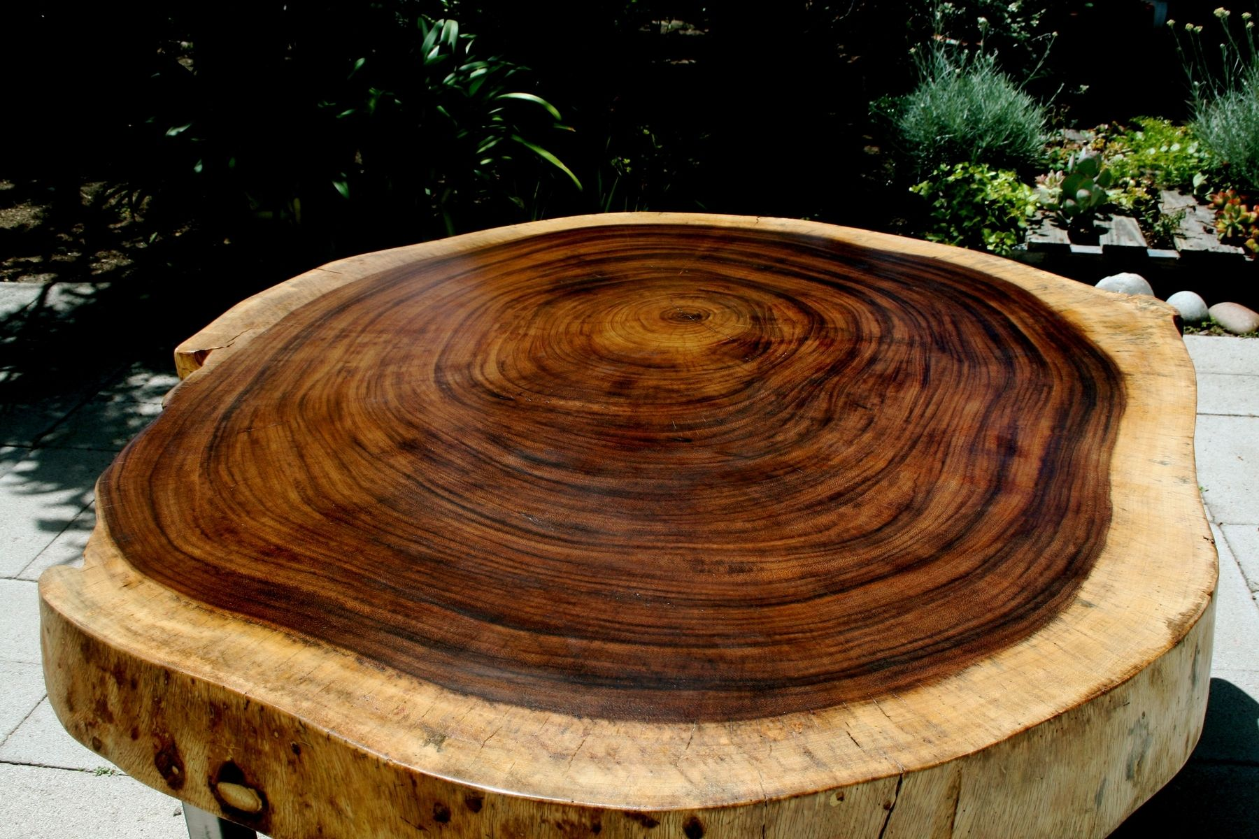 Custom Made Tropical Live Edge Round Coffee Table by The Timber