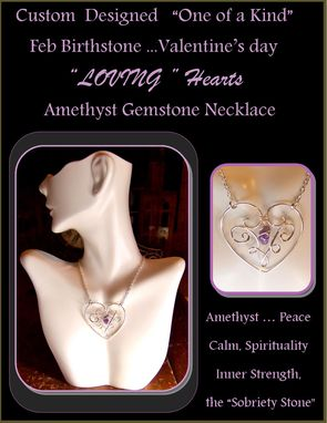 Custom Made Mother Jewelry,Heart Jewelry,Amethyst Jewelry,Gemstone Healing Jewelry,Sobriety Jewelry