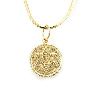 Custom Made Star Of David Gold Coin Charm Pendant