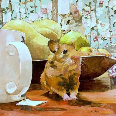Custom Made Still Life With Hamster And Cat