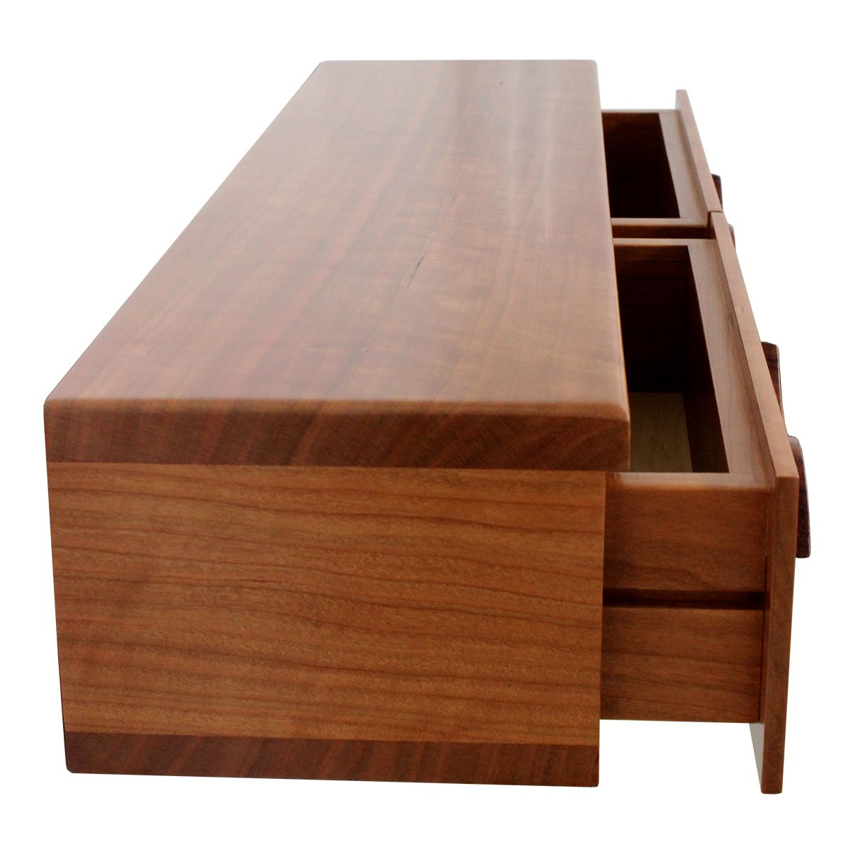 Custom Made 2 Drawer Floating Shelf Solid Cherry Wood Hand Carved Bubinga Pulls