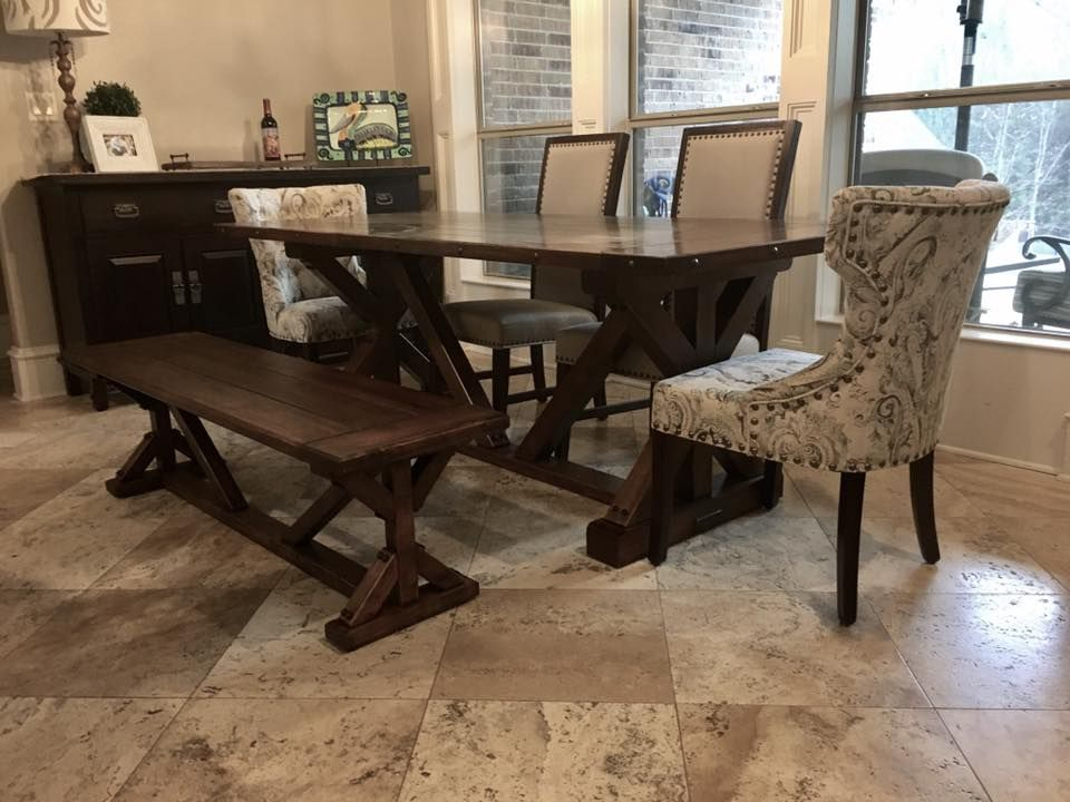 Handmade Contemporary Farmhouse Dining Table By Longhorn