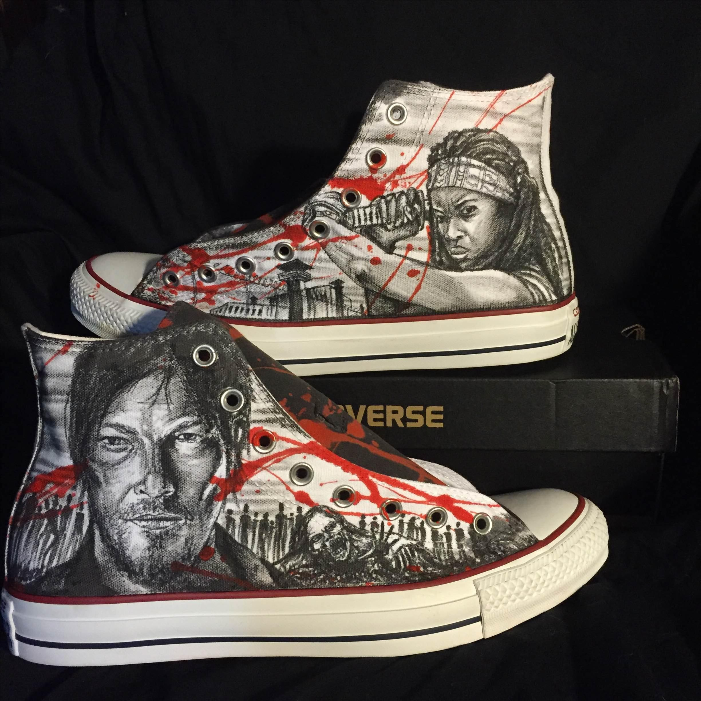 Walking dead converse shoes for sale - Custom Made Hand Drawn The Walking Dead Custom Shoes