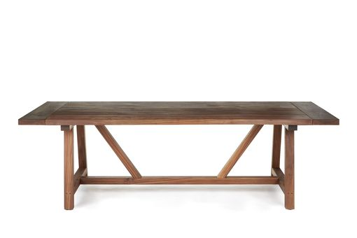Custom Made Solid Walnut Trestle Dining Table