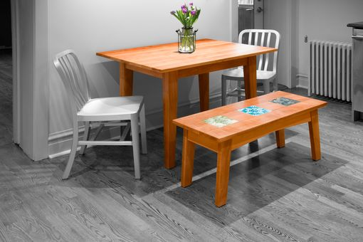 Custom Made Pear Kitchen Table + Bench With Tiles