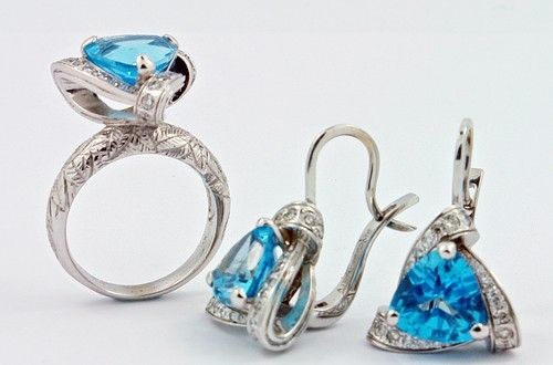 Custom Made Swiss Blue Topaz And White Gold Earrings