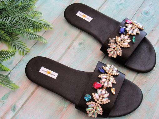 Custom Made Melody Crystal Satin Sandals