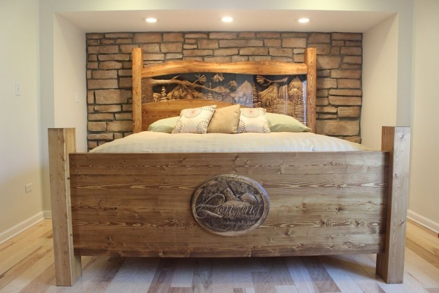 Custom Made King Size Headboard Footboard Waterfall Pine Forest Scene Hand Carved