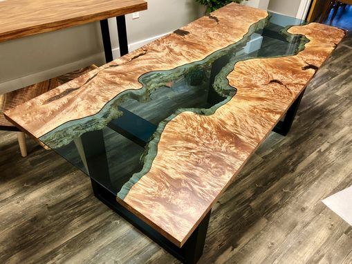 Custom Made Big Leaf Maple Burl Blue Glass River Dining Table
