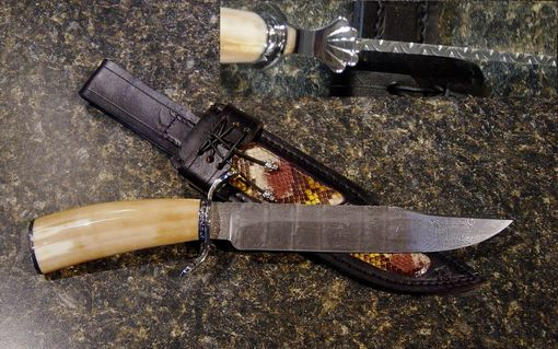 Custom Made Ancient Ivory Damascus Knife