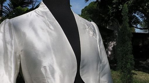 Custom Made Custom Silk Ivory Jacket With Embellishments