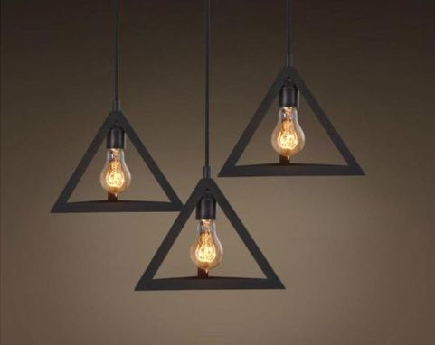 Custom Made Triangle Pendant Light Fixture Hollow Hardware Chandeliers