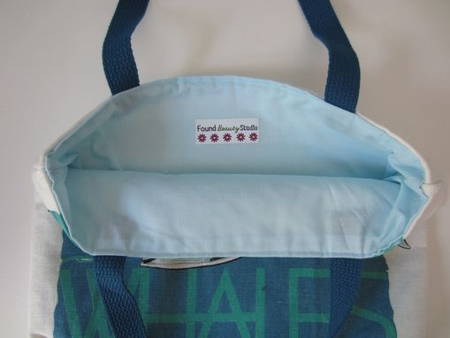 Custom Made Upcycled Tote Bag Made From A Whale Towel