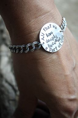 Custom Made Sterling Silver - Personalized Rustic Disk Bracelet