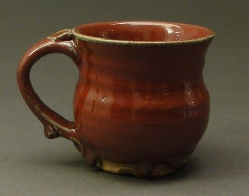 Custom Made Handmade Stoneware Pottery Mug With Copper Red Glaze, (Sku 30)