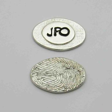 Custom Made Personalized Silver Fingerprint Oval Charm Or Pendant