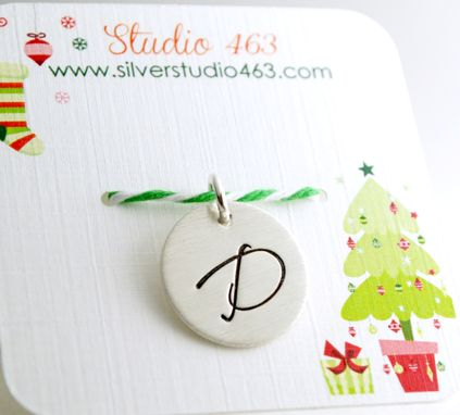 Custom Made Custom Christmas Gift - Hand Stamped Initial Charm - Secret Santa Gift