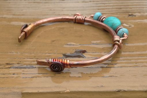 Custom Made Copper And Turquoise Cuff