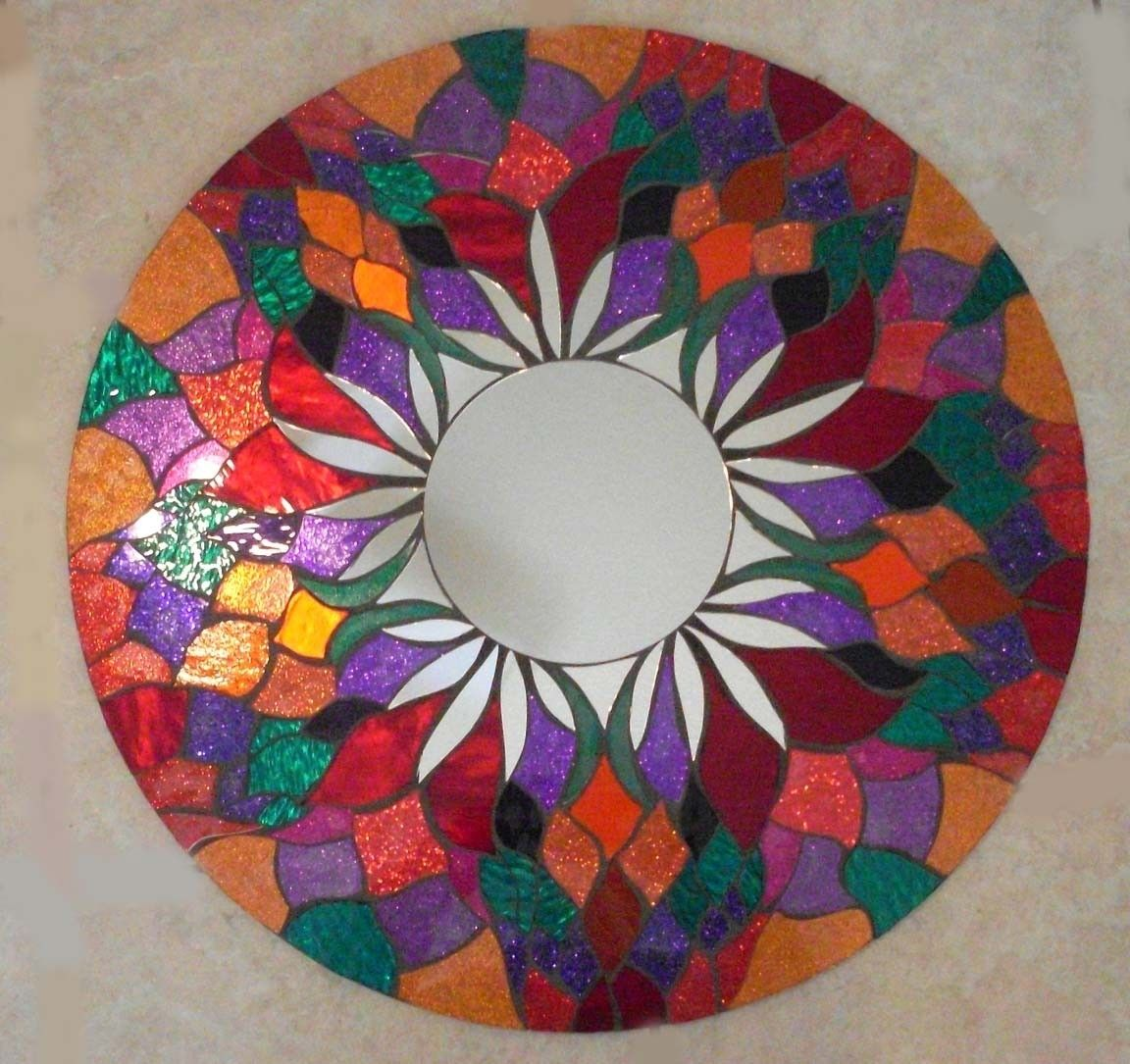 Buy Hand Made Mosaic Mirror Red Round Handmade Glitter