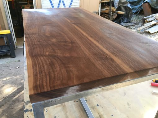 Custom Made Walnut And Steel Coffee Table