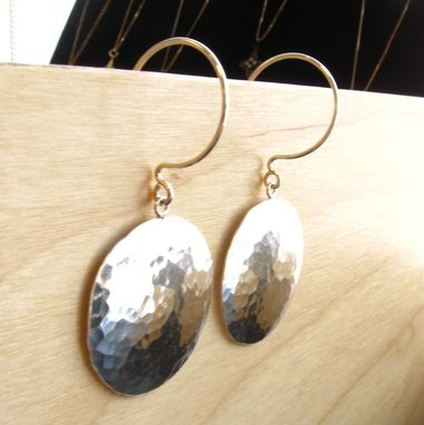 Custom Made Last Minute Same Day Shipping Item Sterling Silver Handmade Hammered Disc Earrings